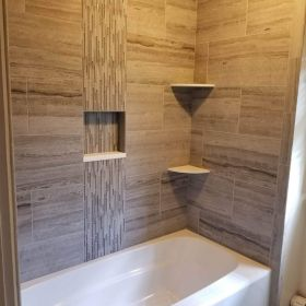 shower with custom niche and corner shelves USE